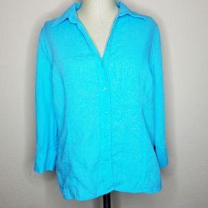 Talbots | Aqua Blue Irish Linen Button Front Top